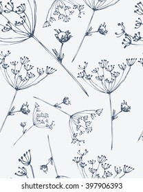 Seamless pattern with hand drawn flowers. Monochrome