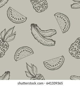 Seamless pattern. Hand drawn fruits illustration of banana, pineapple, watermelon Line drawing. Print for wallpaper, background, surface, fabric, decor