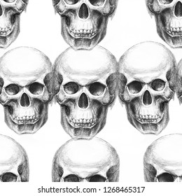 Seamless pattern with hand drawn image of a skull