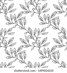 Seamless pattern hand drawn ink botanical illustration  of wild branches isolated on white background. Design for textile, wrapping or wallpaper