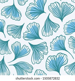 Seamless pattern with hand drawn leafs ginkgo biloba. Natural design for fabric or wallpaper.