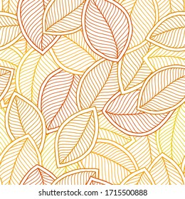 Seamless pattern with hand drawn orange leaves made with doodle style. Trendy scandinavian design concept for fashion textile print. Nature illustration.