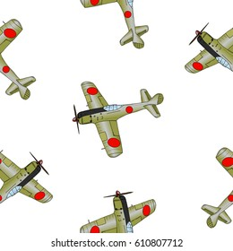Seamless pattern. Hand drawn original illustration. Vintage Wolrd War 2 fighter plane. Isolated on white.