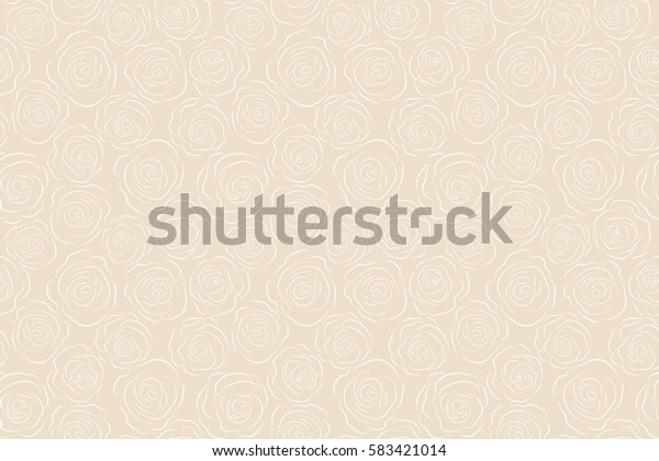 Seamless pattern (hand drawn). Raster vintage dashed roses on a beige background.