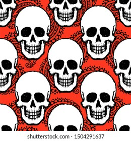 Seamless pattern with hand drawn skulls.