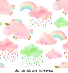 Seamless pattern with hand drawn unicorns, rainbows and clouds. Isolated on white watercolor unicorns and clouds for textile, fabric, wallpaper.
