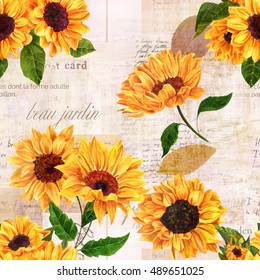 A Seamless Pattern With Hand Drawn Vibrant Yellow Watercolor Sunflowers On The Background Of Old Letters