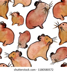 Seamless pattern with hand drawn watercolor hamsters.