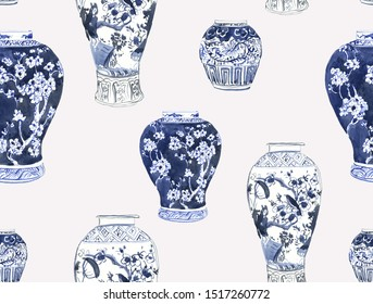 Seamless Pattern Hand Drawn Watercolor Illustration Chinese Blue and White Ginger Jars Big Clipart Porcelain Ceramics with Flowers Retro Design Asian Art Jugs for Textile, Wrapping Paper Design