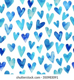 Seamless pattern with hand drawn watercolor heart. Hand painted pattern. Romantic ornament for valentines day. Ink illustration. Isolated on white background. Blue sky heart pattern.