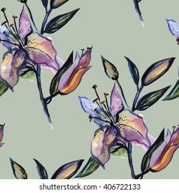 Seamless pattern with hand drawn watercolor lily, Floral texture for your design.