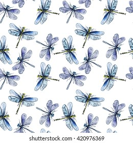 Seamless pattern with hand drawn watercolor dragonflies.