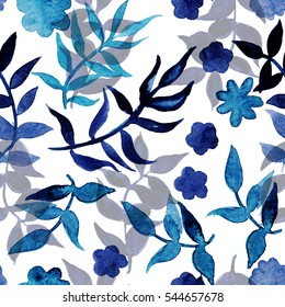 Seamless pattern with hand drawn watercolor meadow flowers and herbs on white background in blue colors.