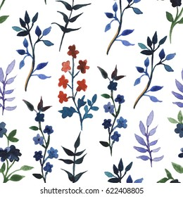 Seamless pattern with hand drawn watercolor wild flowers and leaves.