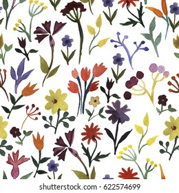 Seamless pattern with hand drawn watercolor flowers, leaves, berries. Watercolor blooming field pattern isolated on white background. Herbs and grass elements fabric design.