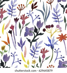 Seamless pattern with hand drawn watercolor flowers and leaves.