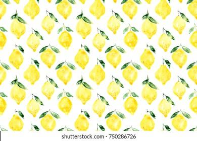 seamless pattern of hand drawn watercolor lemons