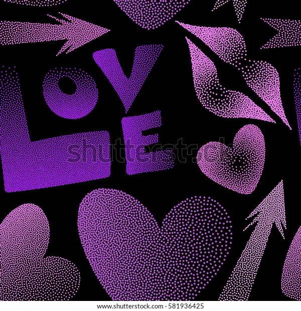 Seamless pattern with hand drawn word love, cupid's arrow, lipstick kisses and heart in pink and violet colors. Great print on a black background for poster, cards, textile, printing or fabric.