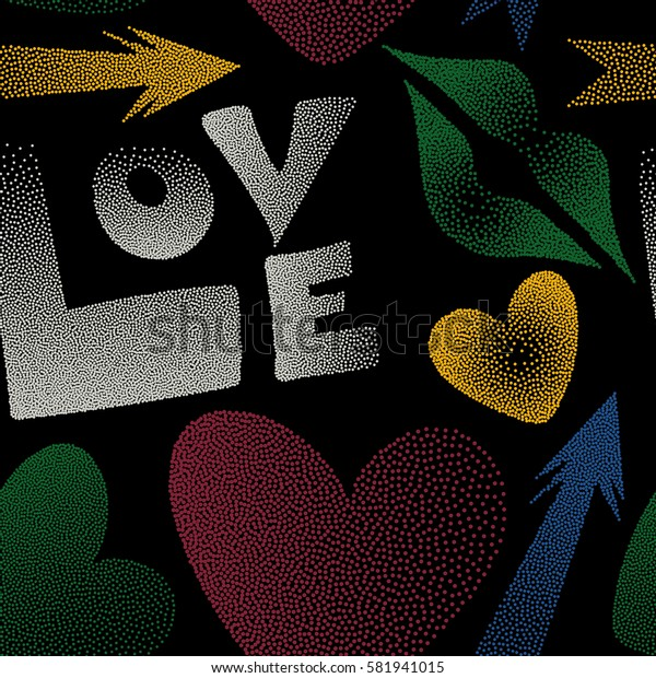 Seamless pattern with hand drawn word love, cupid's arrow, lipstick kisses and heart in red, green and yellow colors. Great print on a black background for poster, cards, textile, printing or fabric.