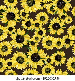 Seamless pattern with hand drawn yellow sunflower on black background. Watercolor illustration