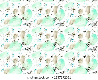 seamless pattern of hand made abstract watercolor stains and splatters