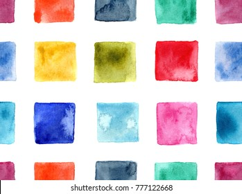 seamless pattern of hand made abstract watercolor squares / mosaic