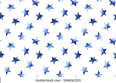 seamless pattern of hand made watercolor stars
