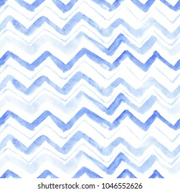 seamless pattern of hand made watercolor zig zag chevron / abstract geometrical background