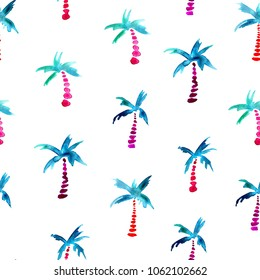 seamless pattern of hand made watercolor stylized palms / summer background for trendy design