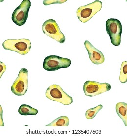 seamless pattern of hand made watercolor avocado / painted food design
