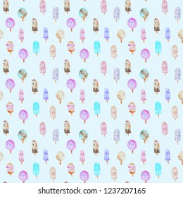 seamless pattern of hand made watercolor ice cream, summer painted sweet background