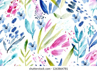 seamless pattern of hand made watercolor flowers / nature design for invitation or greeting card