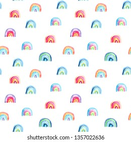 seamless pattern of hand made watercolor rainbows, cute design for nursery, baby and kids products