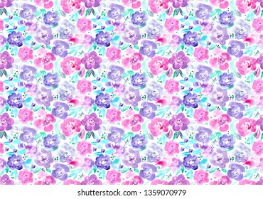 seamless pattern of hand made watercolor flowers / painted design for invitation or greeting card