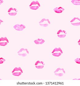 seamless pattern of hand made watercolor lips/kisses; love design for romantic card
