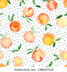 seamless pattern of hand made watercolor peaches / painted summer design with fruits