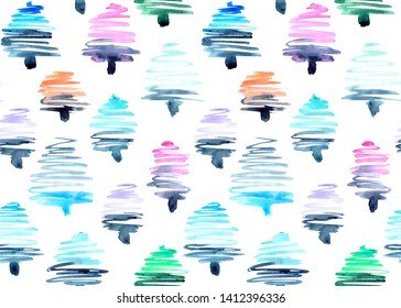 seamless pattern of hand made watercolor fir trees / painted design for christmas greeting card