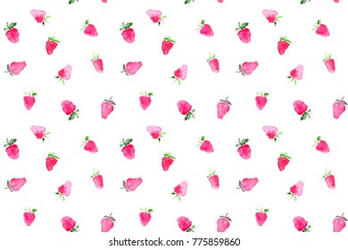 seamless pattern of hand made watercolor strawberries / painted summer berry design