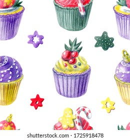 Seamless pattern of  hand painted Christmas cupcakes and different decorations. Yellow, red, purple and green color palette. For templates, menu cards, invitation, greeting and postcards