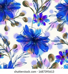Seamless Pattern of Hand painted Flowers. Watercolor Background.