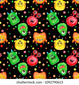 Seamless pattern with hand painted watercolor cute monsters.