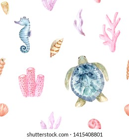 Seamless pattern. Hand painted watercolor sea. Hand drawn illustration isolated on white background. Design for print, poster, fabric, decor, textile, cover, travel, zoo, case, cloth, wallpaper