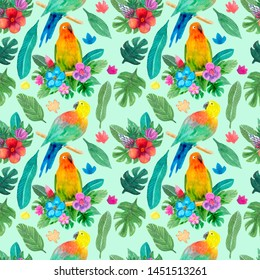 Seamless pattern with hand painted watercolor parrots, flowers and leaves