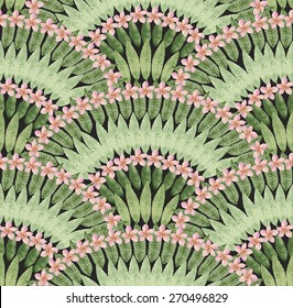 Seamless pattern of hand painted watercolor tropical pink flowers and green leaves on a black background