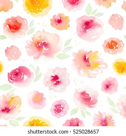 Seamless pattern with hand painted watercolor abstract flowers.