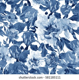 Seamless Pattern Hand Painted Watercolor Illustration Artwork Flowers Peony and Irises Cobalt Blue, Floral Textile Design, Elegant Monochrome Classic Print, Plants and Leaves Texture Background