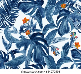 Seamless Pattern Hand Painted Watercolor Artwork Illustration Many Monstera Leaves with Small Red Flowers in Tropical Jungle Exotic Paradise Blue Chinese