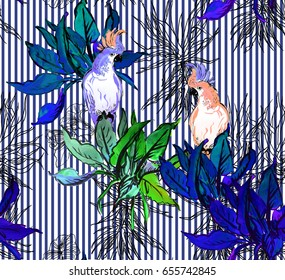 Seamless Pattern Hand Painted Watercolor Artwork Illustration Couple White Parrots Birds on Blue Palm Leaves in Tropical Jungle Exotic with Doodle Bushes on Vertical Stripes