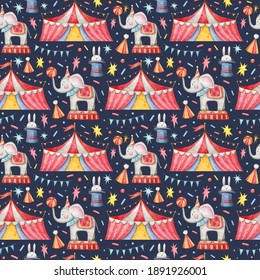 Seamless pattern with hand-drawn watercolor Circus illustrations. Elephant, tent, hat, heart, confetti, stars. Texture for wrapping paper, fabric, decor. Dark background.