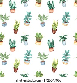 Seamless pattern with hand-painted watercolor indoor plants in flower pots. Decorative background of greenery is ideal for fabric textiles, paper, interior